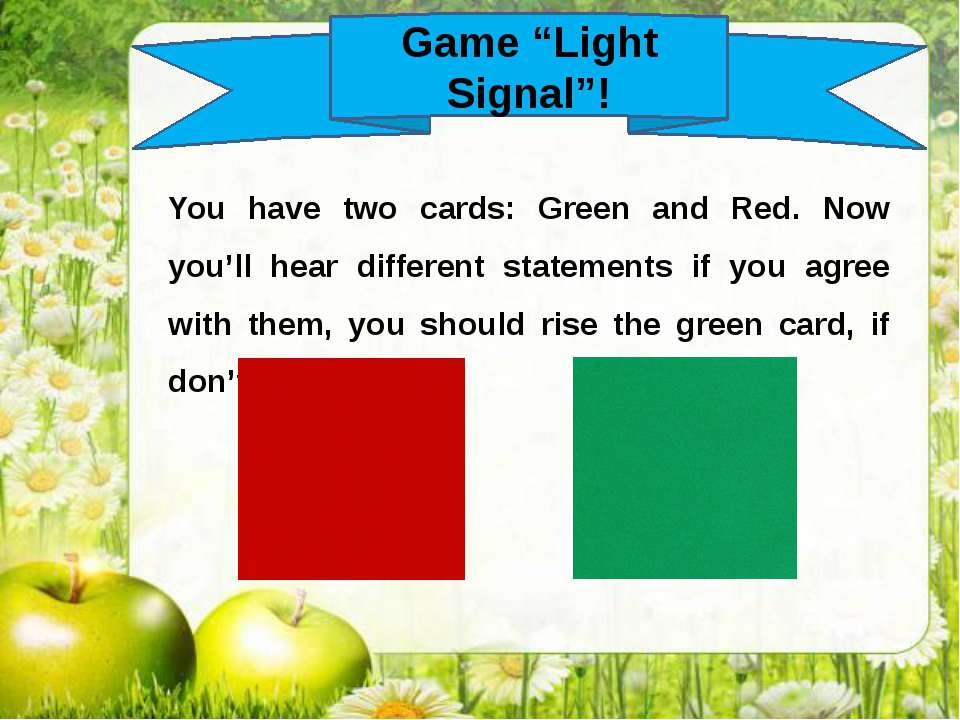 "Game ""Light Signal""! You have two cards: Green and Red. Now you'll hear diffe..."