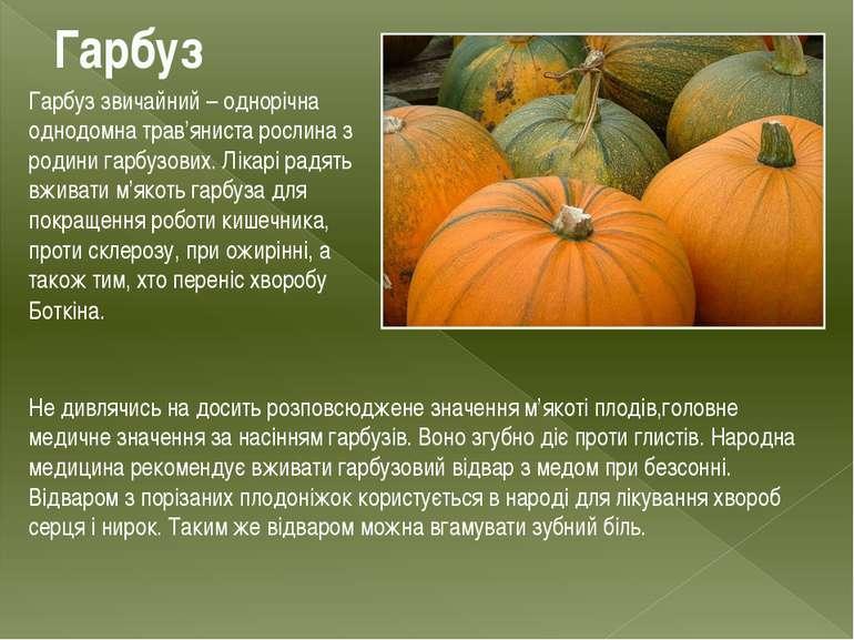 Гарбуз Гарбуз звичайний – однорічна однодомна трав'яниста рослина з родини га...