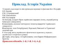 Приклад. Історія України Установіть відповідність між прізвищем науковця та ф...