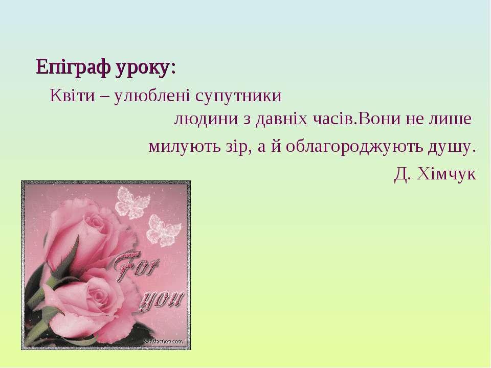 Епіграф уроку: Квіти – улюблені супутники людини з давніх часів.Вони не лише ...