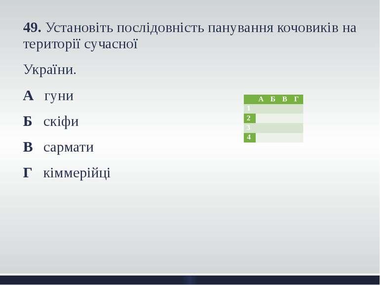 49. Установіть послідовність панування кочовиків на території сучасної Україн...