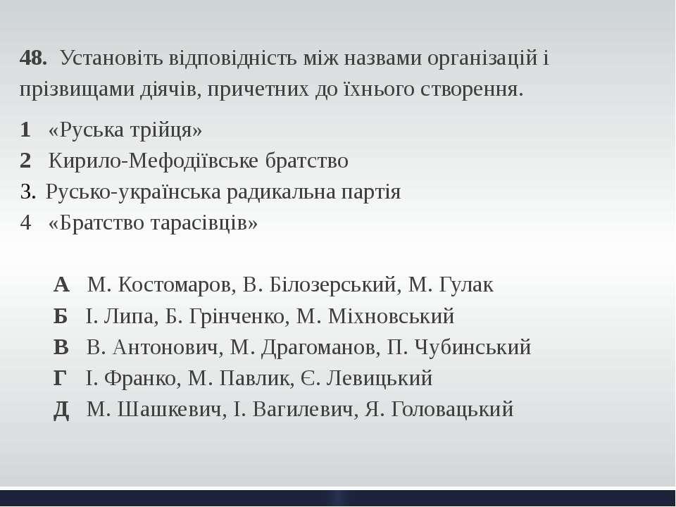 48. Установіть відповідність між назвами організацій і прізвищами діячів, при...
