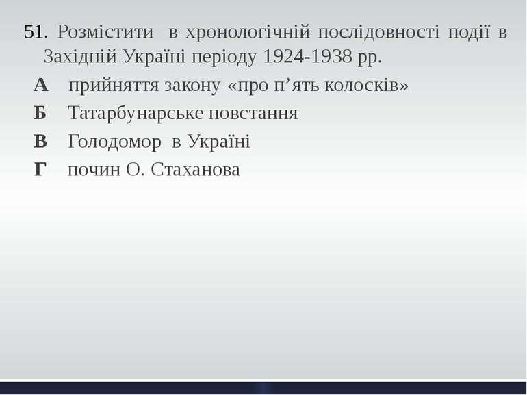 Розмістити в хронологічній послідовності події в Західній Україні періоду 192...
