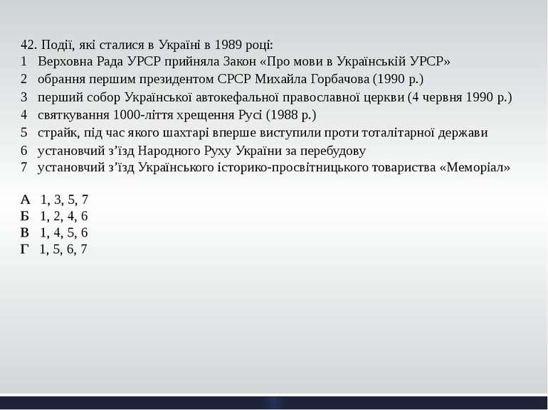42. Події, які сталися в Україні в 1989 році: 1 Верховна Рада УРСР прийняла...