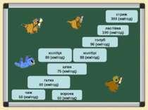 чиж 50 (км/год) галка 60 (км/год) колібрі 88 (км/год) голуб 96 (км/год) стриж...