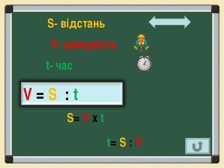 S- відстань V- швидкість t- час S= V х t t= S : V