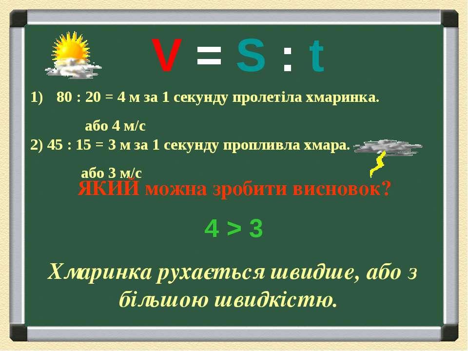 80 : 20 = 4 м за 1 секунду пролетіла хмаринка. або 4 м/с 2) 45 : 15 = 3 м за ...