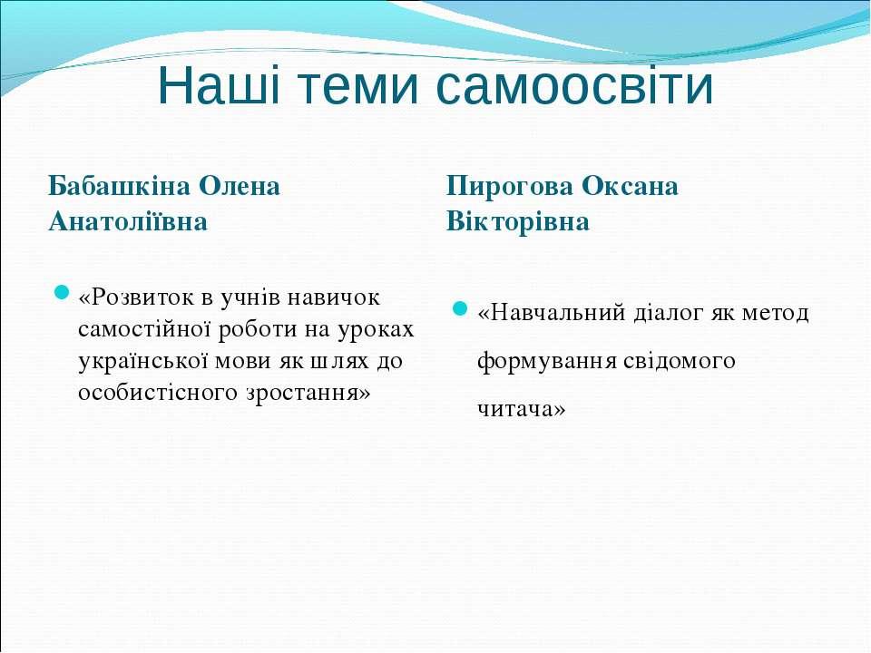 Наші теми самоосвіти Бабашкіна Олена Анатоліївна Пирогова Оксана Вікторівна «...