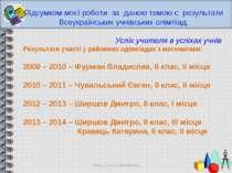 Підсумком моєї роботи за даною темою є результати Всеукраїнських учнівських о...