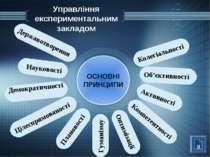Управління експериментальним закладом ОСНОВНІ ПРИНЦИПИ Цілеспрямованості Комп...