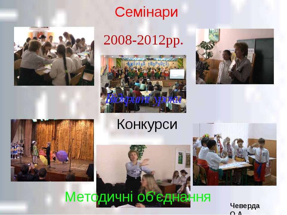 Відкриті уроки Семінари Конкурси Методичні об'єднання 2008-2012рр. Чеверда О.А.