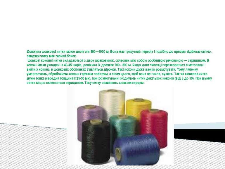 Довжина шовкової нитки може досягати 800—1000 м. Вона має трикутний переріз і...