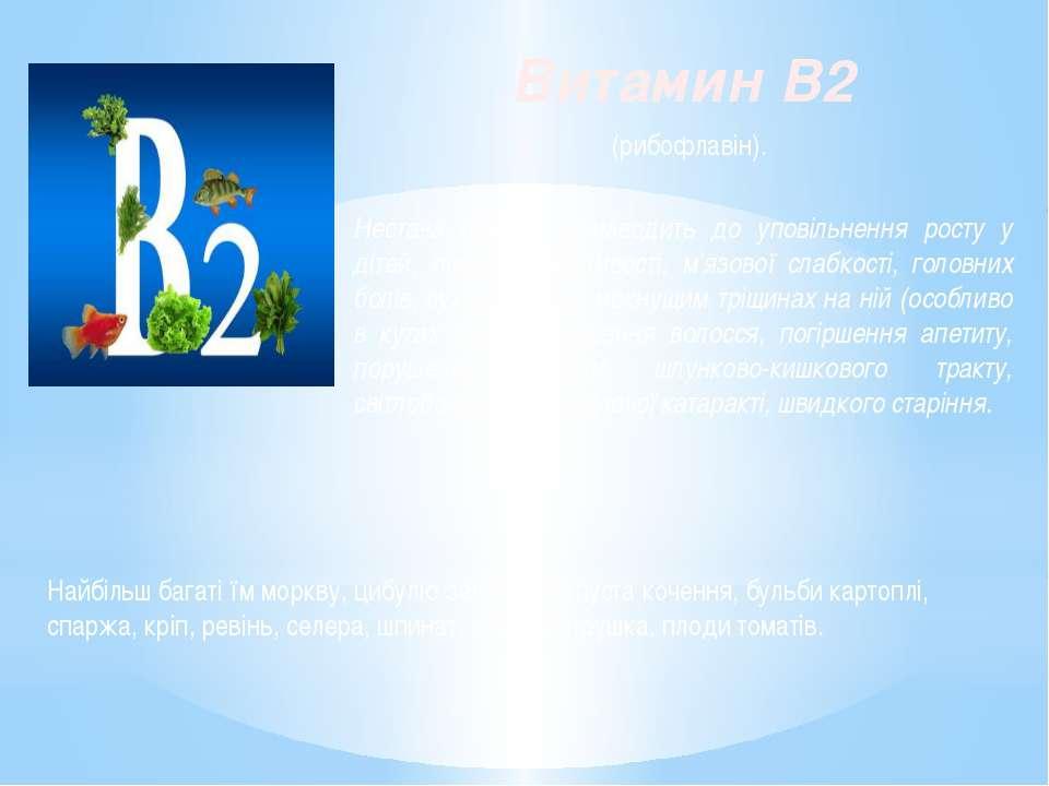 Витамин B2 (рибофлавін). Нестача вітаміну призводить до уповільнення росту у ...