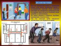 Дії учнів при пожежі Під час виникнення пожежі у приміщенні школи учні мають ...