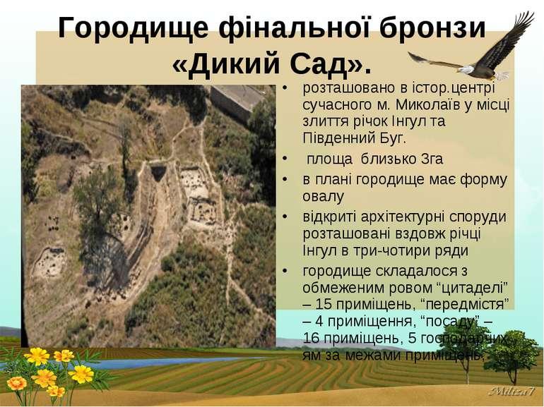 Городище фінальної бронзи «Дикий Сад». розташовано в істор.центрі сучасного м...
