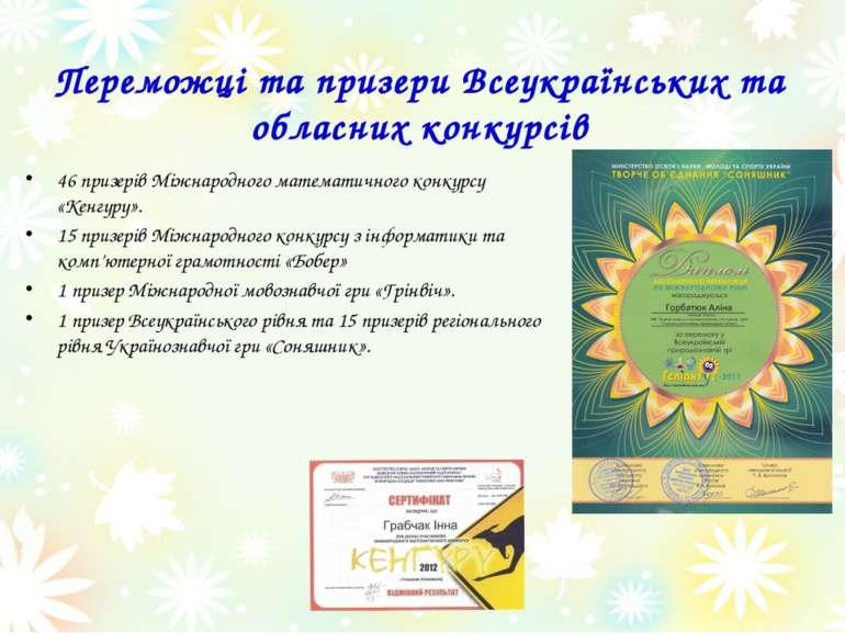 Переможці та призери Всеукраїнських та обласних конкурсів 46 призерів Міжнаро...