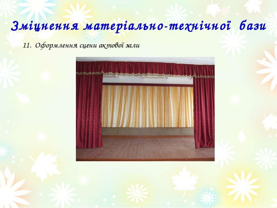 Оформлення сцени актової зали Зміцнення матеріально-технічної бази