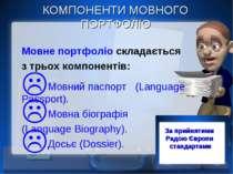 КОМПОНЕНТИ МОВНОГО ПОРТФОЛІО Мовне портфоліо складається з трьох компонентів:...