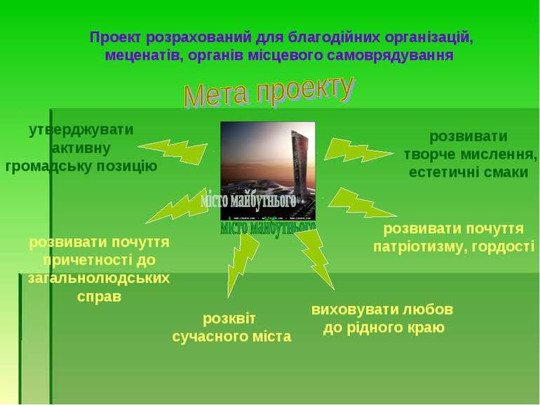 Проект розрахований для благодійних організацій, меценатів, органів місцевого...