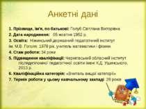 Анкетні дані 1. Прізвище, ім'я, по батькові: Голуб Світлана Вікторівна 2. Дат...