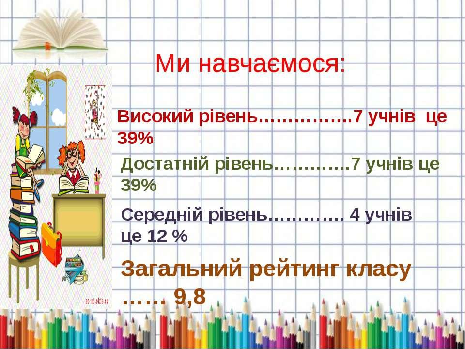 Ми навчаємося: Високий рівень…………….7 учнів це 39% Достатній рівень………….7 учні...