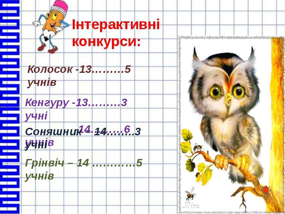 Інтерактивні конкурси: Колосок -13………5 учнів Кенгуру -13………3 учні -14………6 учн...