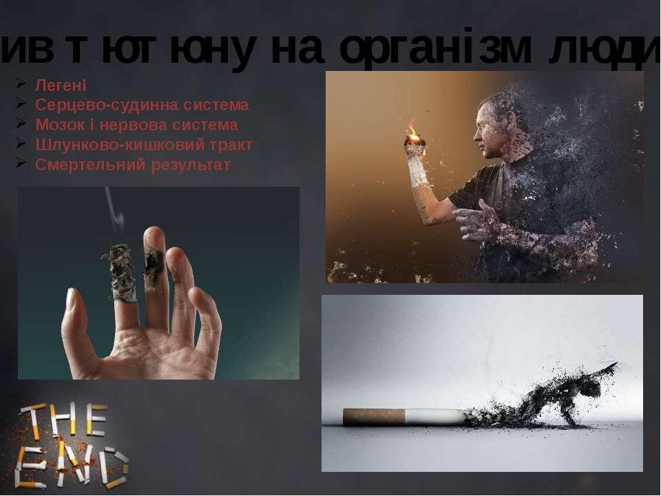 Вплив тютюну на організм людини: Легені Серцево-судинна система Мозок і нерво...