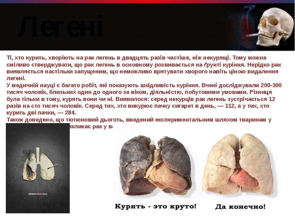 Ті, хто курить, хворіють на рак легень в двадцять разів частіше, ніж некурящі...