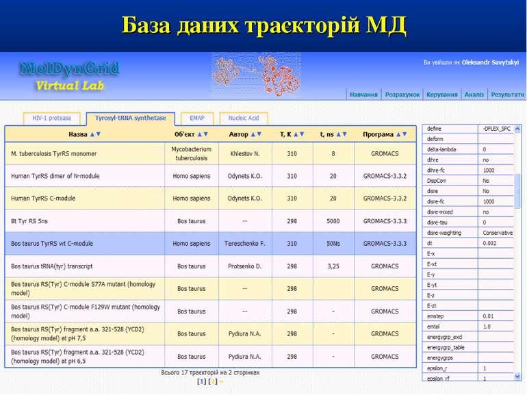 База даних траєкторій МД
