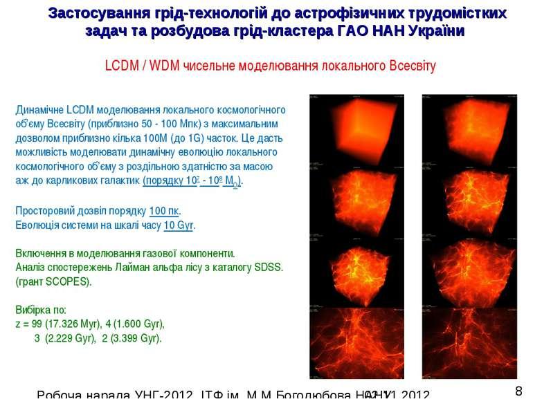 Динамічне LCDM моделювання локального космологічного об'єму Всесвіту (приблиз...