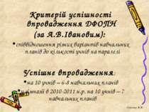 Критерій успішності впровадження ДФОПН (за А.В.Івановим): співвідношення різн...