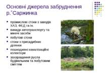 Основні джерела забруднення р.˚Саржинка промислові стоки з заводів ХАЗ, ФЕД т...