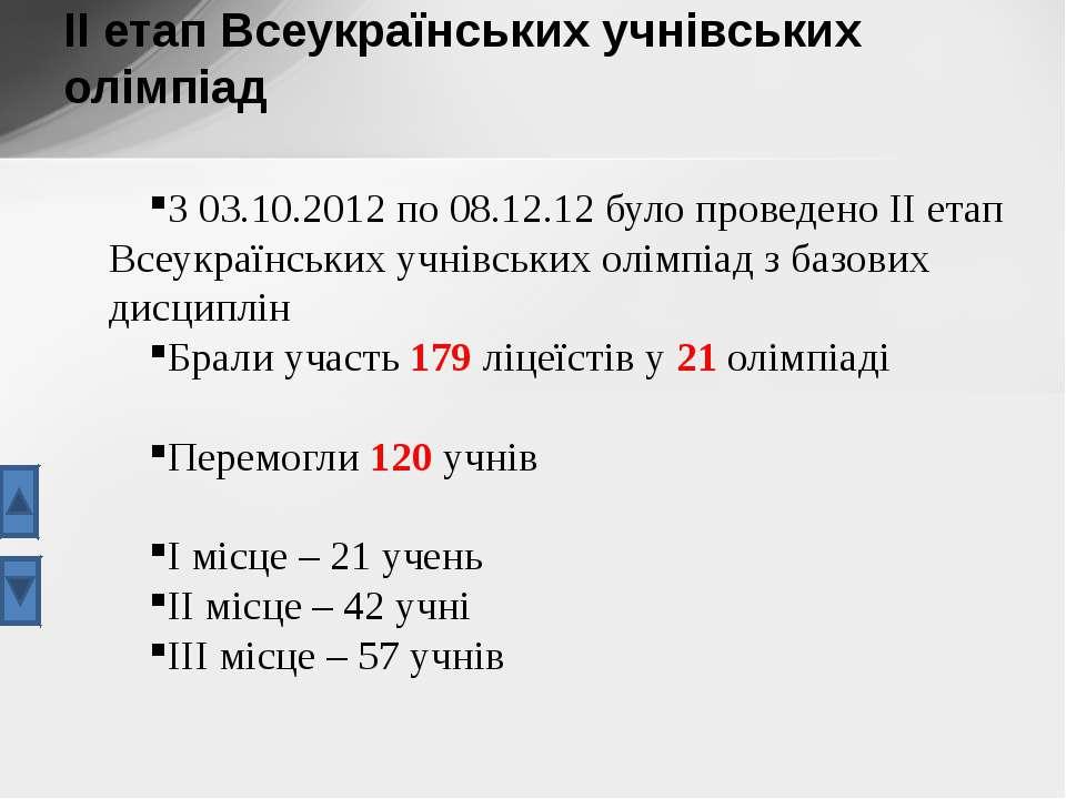 З 03.10.2012 по 08.12.12 було проведено ІІ етап Всеукраїнських учнівських олі...