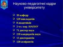 Науково-педагогічні кадри університету 39 кафедр 529 викладачів 8 академіків ...