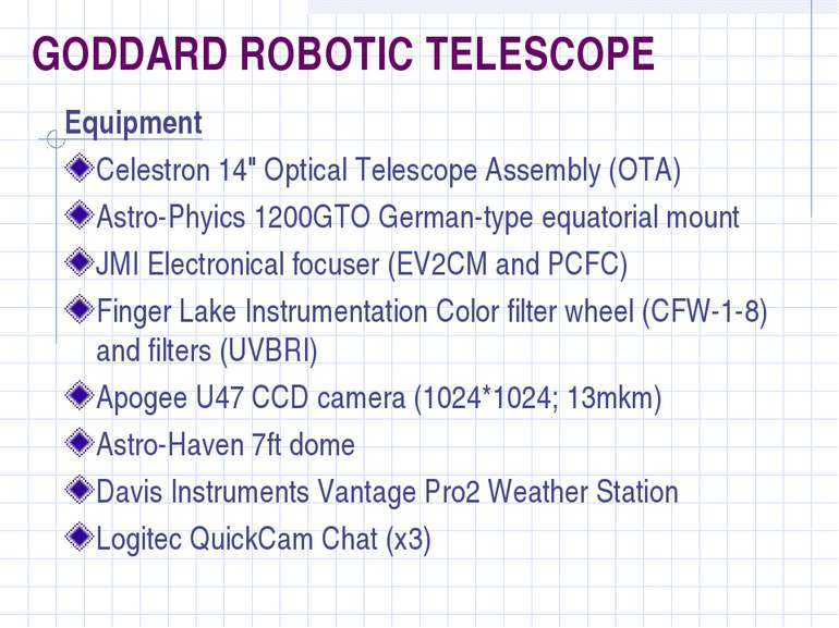 "GODDARD ROBOTIC TELESCOPE Equipment Celestron 14"" Optical Telescope Assembly ..."