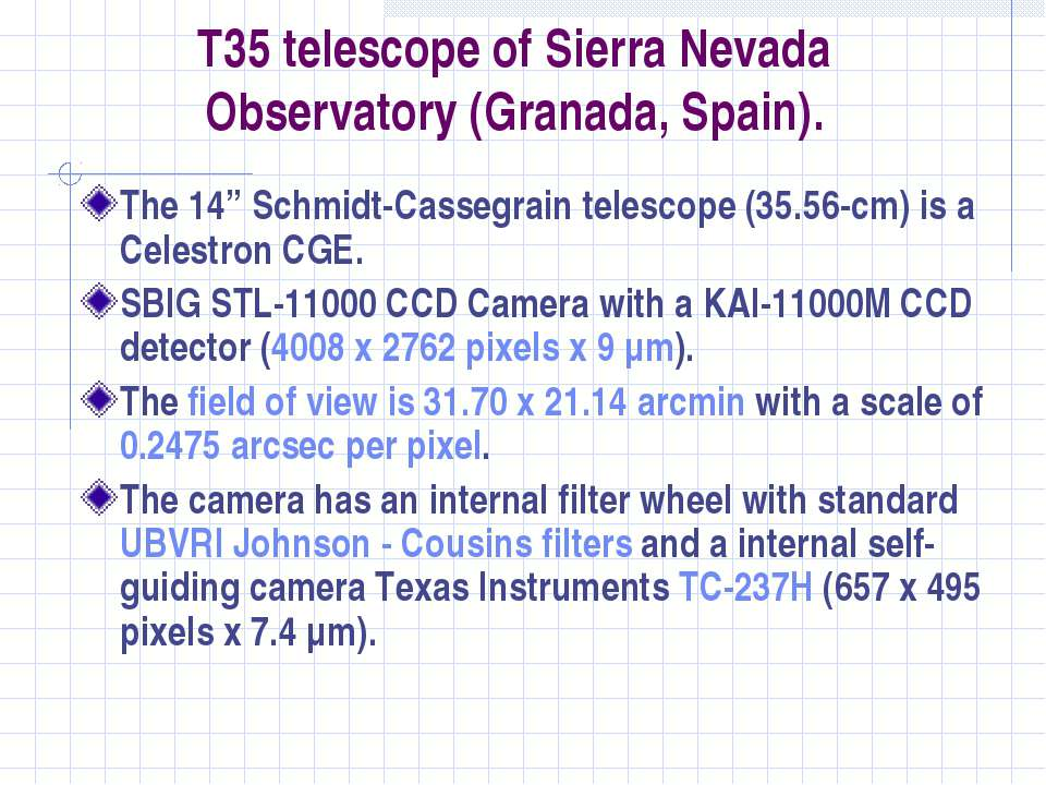 "T35 telescope of Sierra Nevada Observatory (Granada, Spain). The 14"" Schmidt-..."