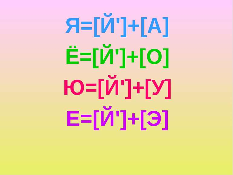 Я=[Й']+[А] Ё=[Й']+[О] Ю=[Й']+[У] Е=[Й']+[Э]