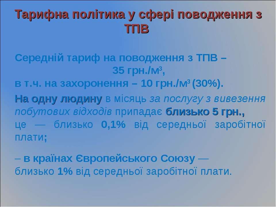 Тарифна політика у сфері поводження з ТПВ Середній тариф на поводження з ТПВ ...