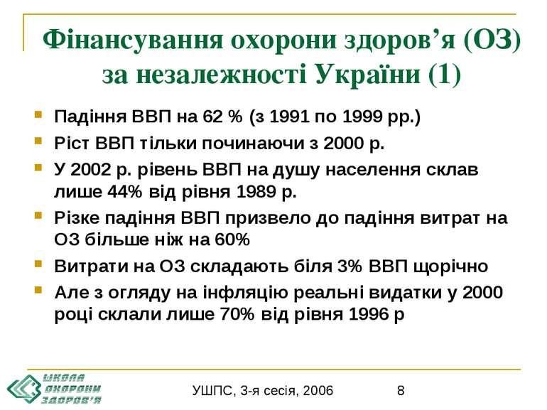 Фінансування охорони здоров'я (ОЗ) за незалежності України (1) Падіння ВВП на...