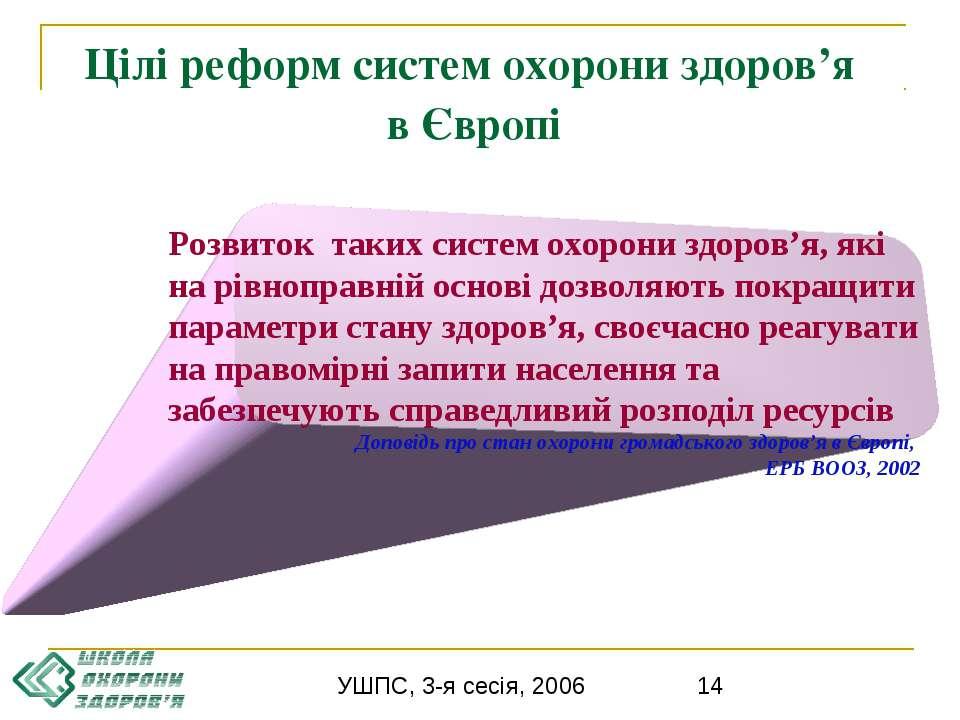 Цілі реформ систем охорони здоров'я в Європі Розвиток таких систем охорони зд...