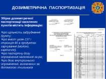 ДОЗИМЕТРИЧНА ПАСПОРТИЗАЦІЯ Збірка дозиметричної паспортизації населених пункт...