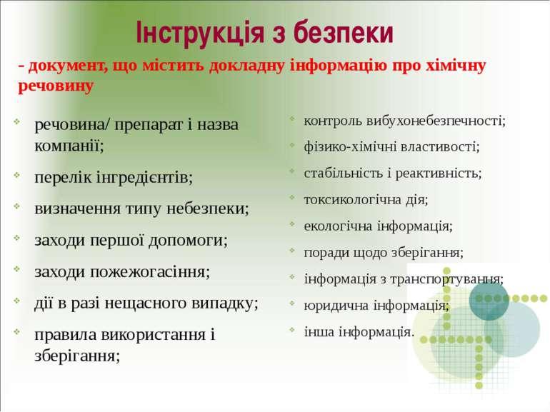 Інструкція з безпеки речовина/ препарат і назва компанії; перелік інгредієнті...