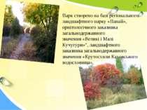 Парк створено на базі регіонального ландшафтного парку«Панай», орнітологічно...