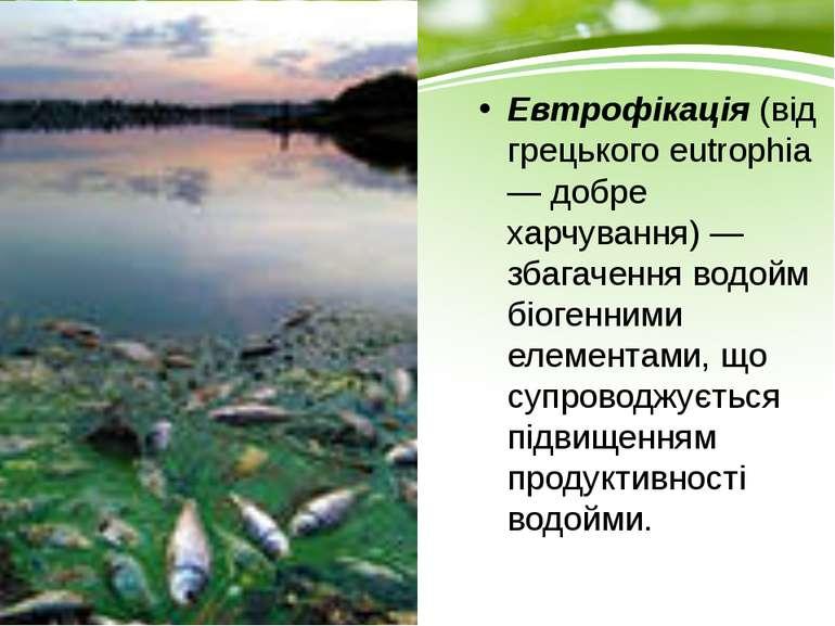 Евтрофікація (від грецького eutrophia — добре харчування) — збагачення водойм...