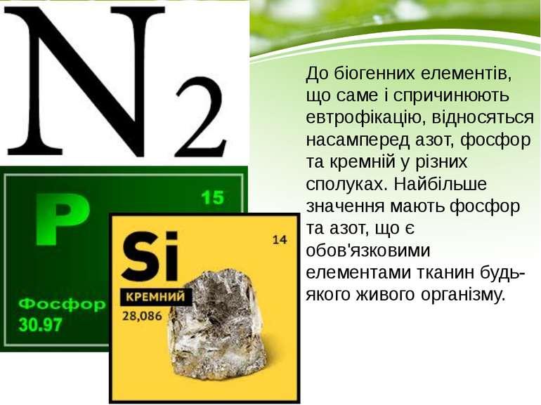 До біогенних елементів, що саме і спричинюють евтрофікацію, відносяться насам...