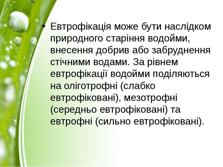 Евтрофікація може бути наслідком природного старіння водойми, внесення добрив...