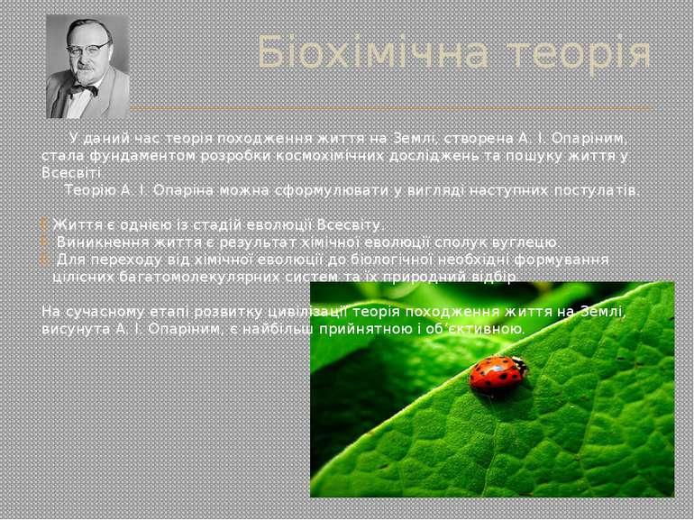 Біохімічна теорія У даний час теорія походження життя на Землі, створена А. І...