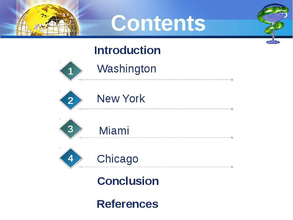 Contents New York 1 2 3 Chicago 4 Introduction Washington Miami Conclusion Re...