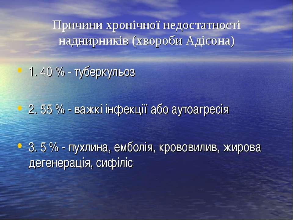 Причини хронічної недостатності наднирників (хвороби Адісона) 1. 40 % - тубер...