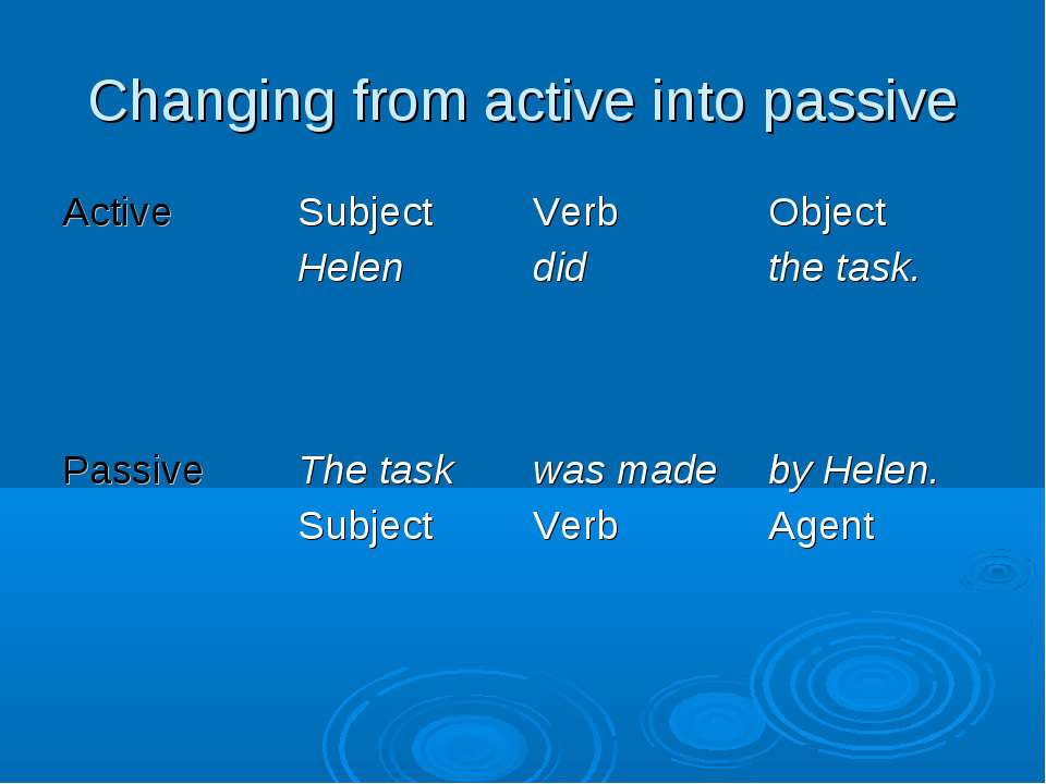 Changing from active into passive Active Subject Helen Verb did Object the ta...